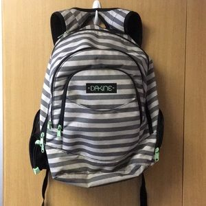 DAKINE backpack gray and white stripe with green